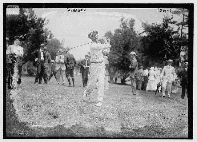 walter hagen posing after golf shot